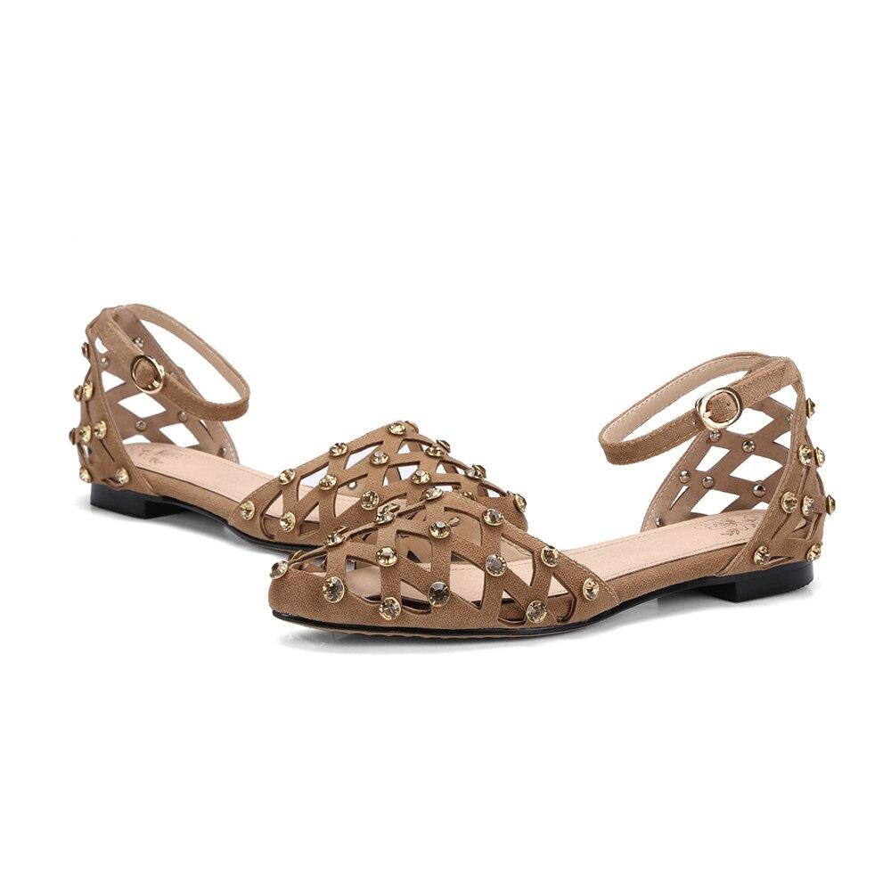 ASUMER noir abricot mode été dames chaussures bout pointu décontracté cristal talon bas sandales boucle daim cuir grande taille 34 43-in Sandales femme from Chaussures    3