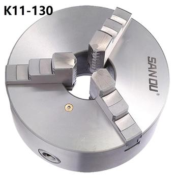 Sanou 3 Jaw Lathe Chuck K11-130 130mm Manual Self Centering M8 for Welding Positioner Turntable Bench Top Lathe Accessories 1set k11 160a type a separating soft top jaws for lathe chuck collet lathe manual self centering chuck