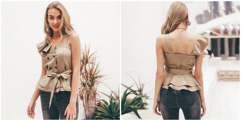 Sexy one shoulder irregular women camis tops Summer ruffle sashes khaki silk tank