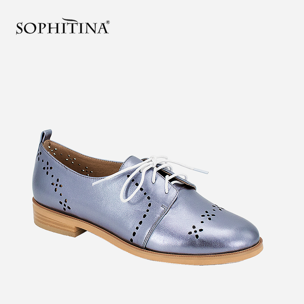 SOPHITINA Oxfords Handmade Women Shoes Blue Grey Sheepskin Casual Flat High Quality Lace-up Breathable Round Toe Autumn Lady P27 size 34 48 spring autumn lace up flat shoes women classic solid color round toe oxfords shoes high quality retro casual shoes