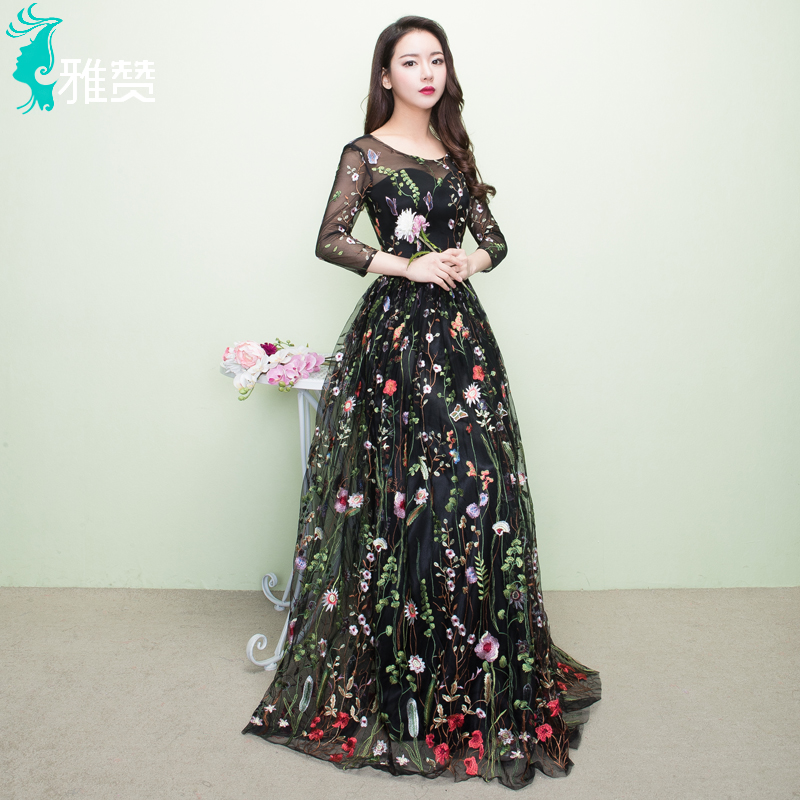 Floral Print Long Sleeve Evening Dresses