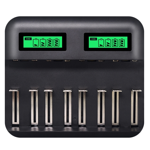 8 Slots Lcd Display Usb Smart Battery Charger For Aa Aaa Sc C D Size Rechargeable Battery 1.2V Ni Mh Ni Cd Quick Charger