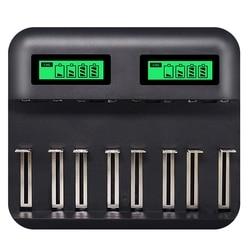 8 gniazd wyświetlacz Lcd inteligentna ładowarka do akumulatora Usb do Aa Aaa Sc C D rozmiar akumulator 1.2V Ni Mh ni cd szybka ładowarka|Ładowarki|Elektronika użytkowa -