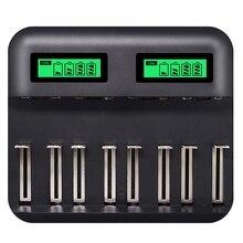 Cargador de batería inteligente Usb con pantalla Lcd de 8 ranuras para Aa Aaa Sc C D batería recargable de 1,2 V Ni Mh ni cd cargador rápido