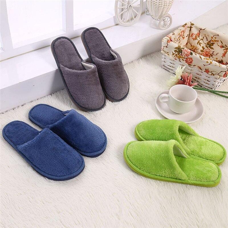 2019 Men Warm Home Plush Soft Slippers Indoors Anti-slip Winter Floor Bedroom Shoes Mans footwear men shoes 40JA2910