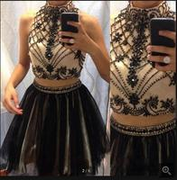 2016 Sexy Two Pieces beading prom Dresses High Neck Beaded Top Little Black Tulle Short Prom Dress Elegant prom gowns