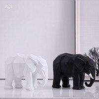 JQJ Reçine Soyut Fil Heykel Heykelcik Dekorasyon El Sanatları Ev Dekorasyonu Geometrik Hayvan minyatür heykelcikler Zanaat Hediyeler