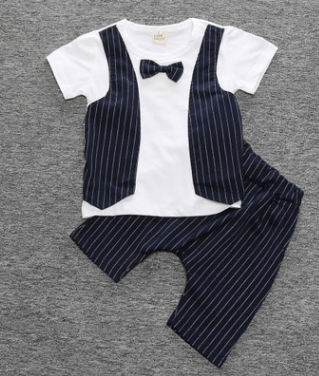 New Summer Baby Formal  Suits  Infant Gentlemen Handsome Clothing Set Boys Wedding Party Suit With 2pcs Bow Tie Outfits Shirt+