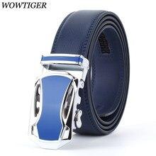 WOWTIGER nowe pasy projektant mody dla mężczyzn przesuwne klamry Ratchet luksusowe skórzane męskie paski automatyczne ceinture homme