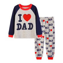 girls boys love dad mum pajamas sets toddler baby cotton outfit clothes kids clothes 2-7Y Pyjamas sleepwear