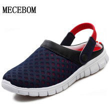 Men's Summer Shoes Sandals 2016 New Breathable Men Slippers Mesh Lighted Casual Shoes Outdoor Slip On Shoes Beach Flip Flops