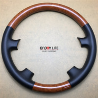 1pc ABS Wood Color Car Steering Wheel Cover Trim For Toyota Land Cruiser LC100 FJ100 2003