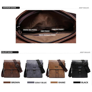 Image 3 - JEEP BULUO Brand Mens Bags Split Leather Fashion Male Messenger Bags Man Casual Crossbody Shoulder Bag For iPad Mini Classic