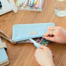 1 шт./компл. Новинка корейские милые Ткань синий Жан ткань Пенал школьный офис холст мешок карандаша косметичка