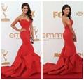 Frete Grátis Nina Dobrev Red Strapless Vestido de Tafetá Emmy Awards Parecidos Vermelho Celebrity Dresses 2016 Vestido de Noite