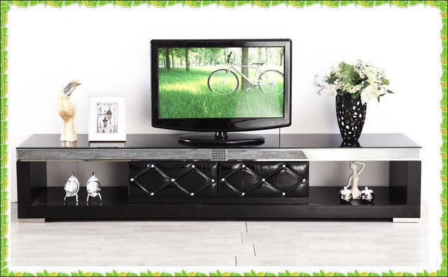 Black Tempered Glass Tv Stands Drilling Leather Floor Cabinets With