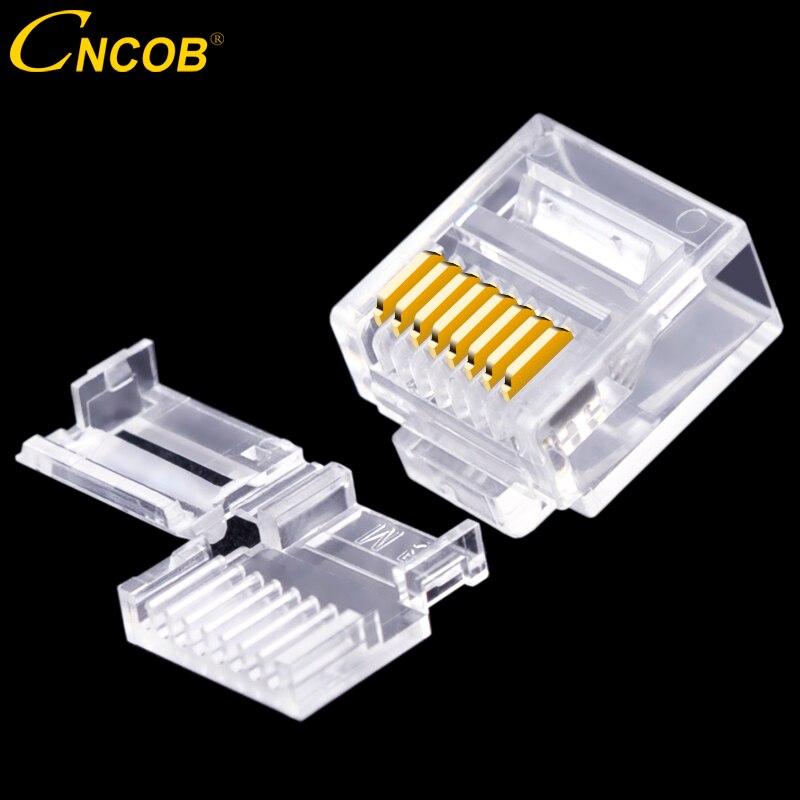 CNCOB Cat6 utp cuerpo corto, dos piezas, cable plano rj45 conector 8P8C modular conector de red Ethernet enchufe equipo 50 piezas