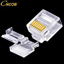 Cncob cat6 utp corpo curto, duas peças, cabo conector rj45 modular 8p8c, conector de rede ethernet computador plug 50 peças