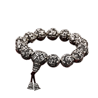 Real Solid 999 Silver Buddhist Bracelet Mens Mantra Beads Carved Six Words Om Mani Padme Hum For Tibetan Prayer Elastic Rope