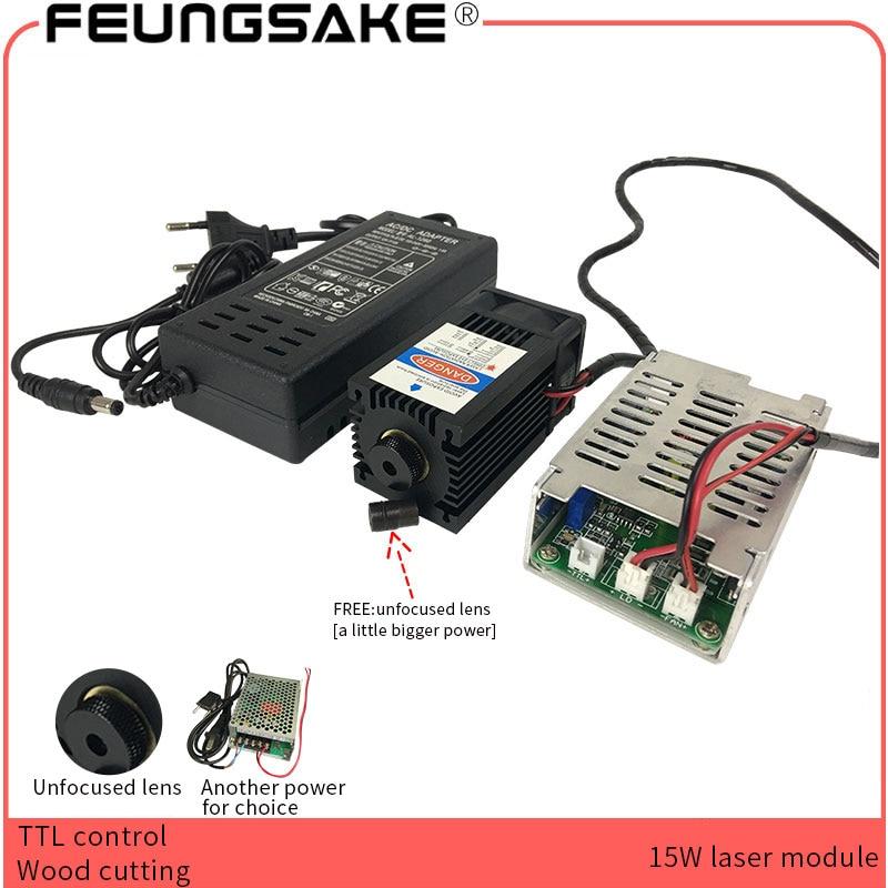 15 w laser module TTL PMW contrôle objectif Focusable Laser Bleu 450nm pour laser machine de gravure cnc bois machine de découpe grande puissance