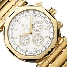 Esfuerzo Para Hombre de la Marca Cara Grande Caso Único Chapado En Oro 6 Manos Fecha Día Cronógrafo Relojes Reloj Masculino EF.2006M. GWG