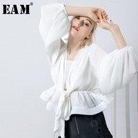 [EAM] 2018 New Autumn winter V collar Long Puff Sleeve Black Pleated Loose Bandage Temperament Shirt Women Blouse Fashion JF13