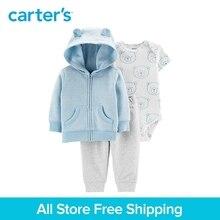 3pcs soft cotton bear print 3D ears hood jacket set Carter's baby boy spring autumn clothing 121I884