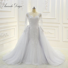 Amanda Design robe de mariee Long Sleeve Beading Detachable Skirt Wedding Dress