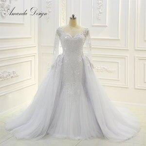 Image 1 - Amanda Design robe de mariee Long Sleeve Beading Detachable Skirt Wedding Dress