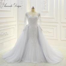 Wzór amanda robe de mariee z długim rękawem frezowanie odpinana spódnica suknia ślubna
