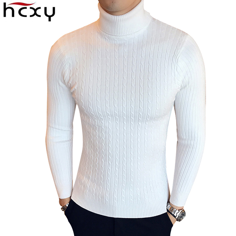 HCXY Male Sweater High-Neck Knitwear Turtleneck Pullover Man Winter Slim-Fit Brand Warm