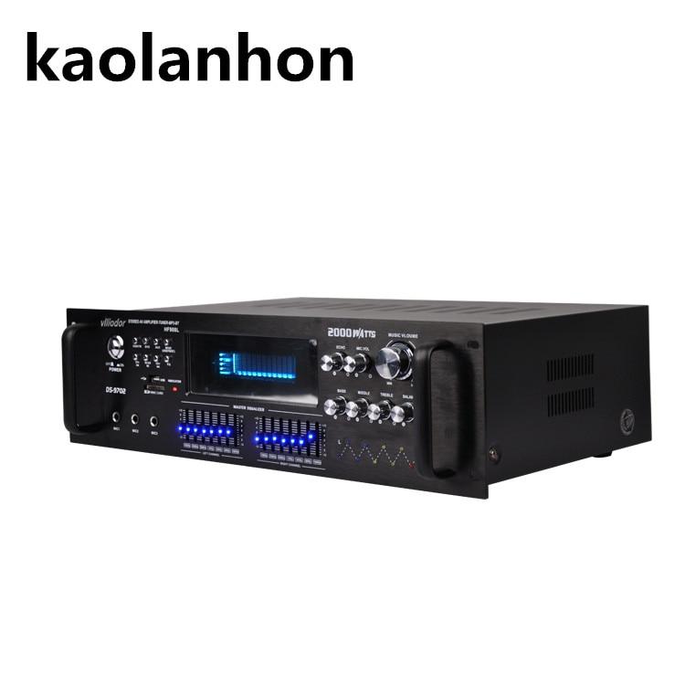 7 band equalizer 2.0 channel 210W high power remote control USB SD FM radio Bluetooth KTV karaoke high fidelity HIFI amplifier