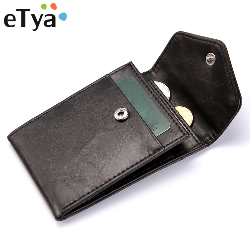 ETya Men Leather Brand Wallet Fashion Vintage Short Thin Male Purses Casual Money Bag High Quality Credit Card Holder Wallets