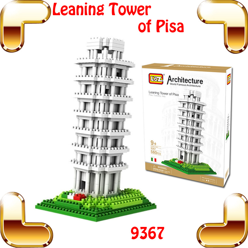 Year Gift LOZ Diamond Blocks Leaning Tower Of Pisa 3D Model Building Famous Architecture Bricks DIY Plastic Collection Toys