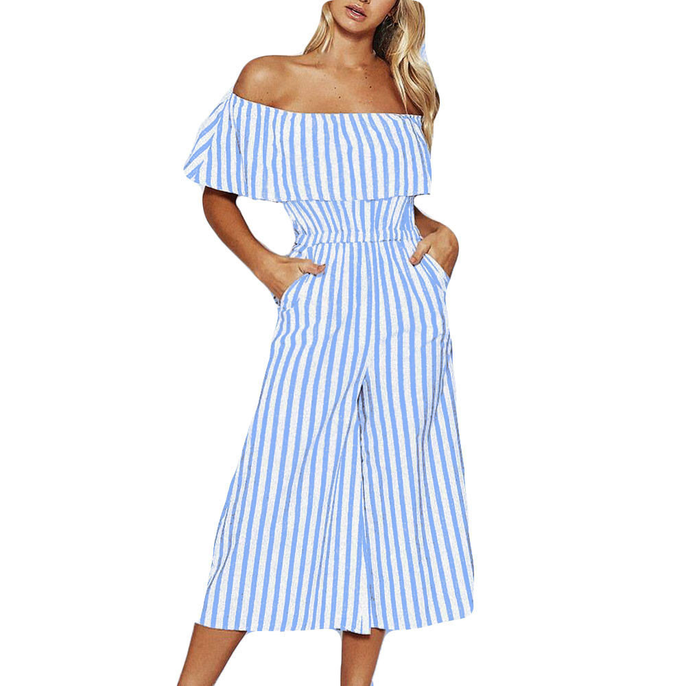 Fashion Women soft and comfortable Off-Shouder Striped Long Trousers   Jumpsuit   Casual Wide Leg Pants L50/0115