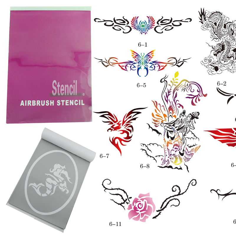цена OPHIR 14x Super Big Airbrush Stencils Patterns for Airbrushing Temporary Tattoo Body Painting Stencils Booklet Set _STE6