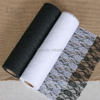Free Shipping 30CM x 22Meters/Roll High end Wedding Decors White/Cream/Black Color Flower Lace Roll DIY Fabric Lace Table Runner