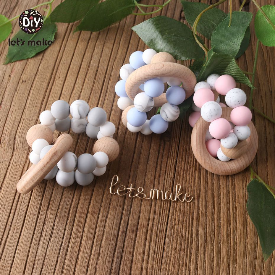 Let's Make Chew Silicone Teether New Beads Candy Bracelet Silicone Crib Accessories Teething Beads Soother Chain Baby Rattle
