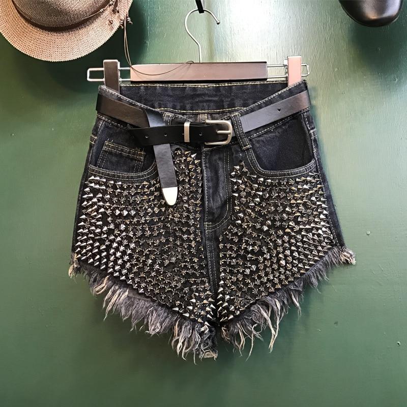 2018 women clothing high waist Rivet tassel washed denim shorts Female fashion streetwear loose wide leg cotton short jeans 138
