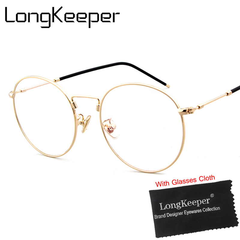 LongKeeper Round Mirror Sun Glasses for Women Men Retro Metal Frame Eyeglasses Korean Clear Lens Male Female Optical Glases