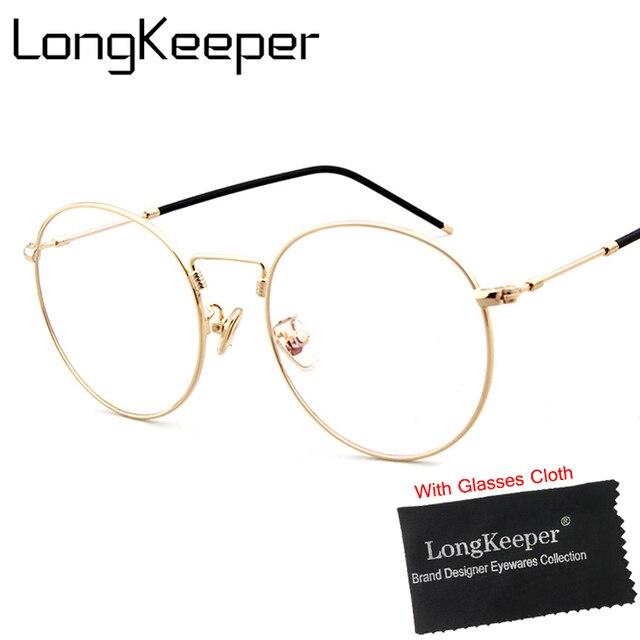 Longkeeper Bulat Cermin Matahari Kacamata untuk Pria Wanita Retro Bingkai  Logam Korea Lensa Pria Wanita Optik bce0dd4374