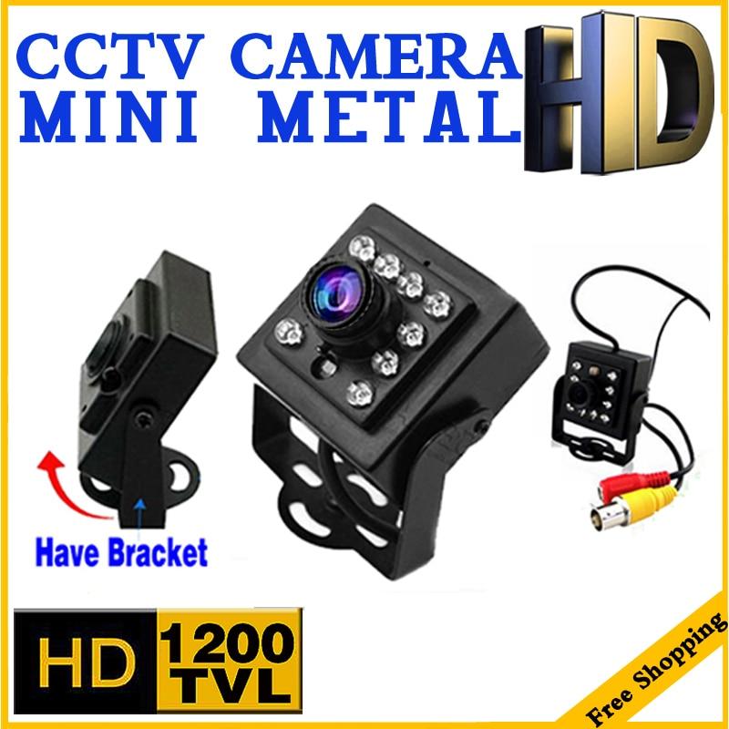 Mažas stilius! Mini naktinio matymo HD kamera CMOS 1200TVL 10led HD vaizdo stebėjimo sistema Saugumo stebėjimas Metalo mikro vidikonų laikiklis