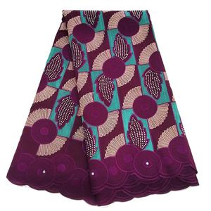 Image 5 - ロイヤルブルーフューシャ刺繍生地綿スイスボイル生地ドライレース生地生地のウェディングドレス