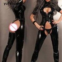 YUFEIDA Women Bodysuit Faux Leather Sexy Black Latex Catsuit Tube Dance Bodycon Intimate Sex Products Female Bodysuit Costume