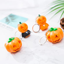 100pcs Creative Halloween Keyring Ghost Shaped With LED & Sound Emitting Horror Pumpkin Keychain For