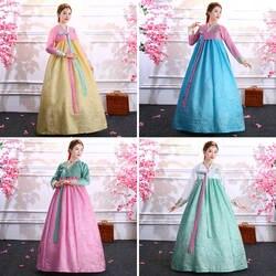 Корейский ханбок женские традиционные костюмы для выступлений сладкий дворца ханбок Корея Свадьба ориантал танцевальное платье для