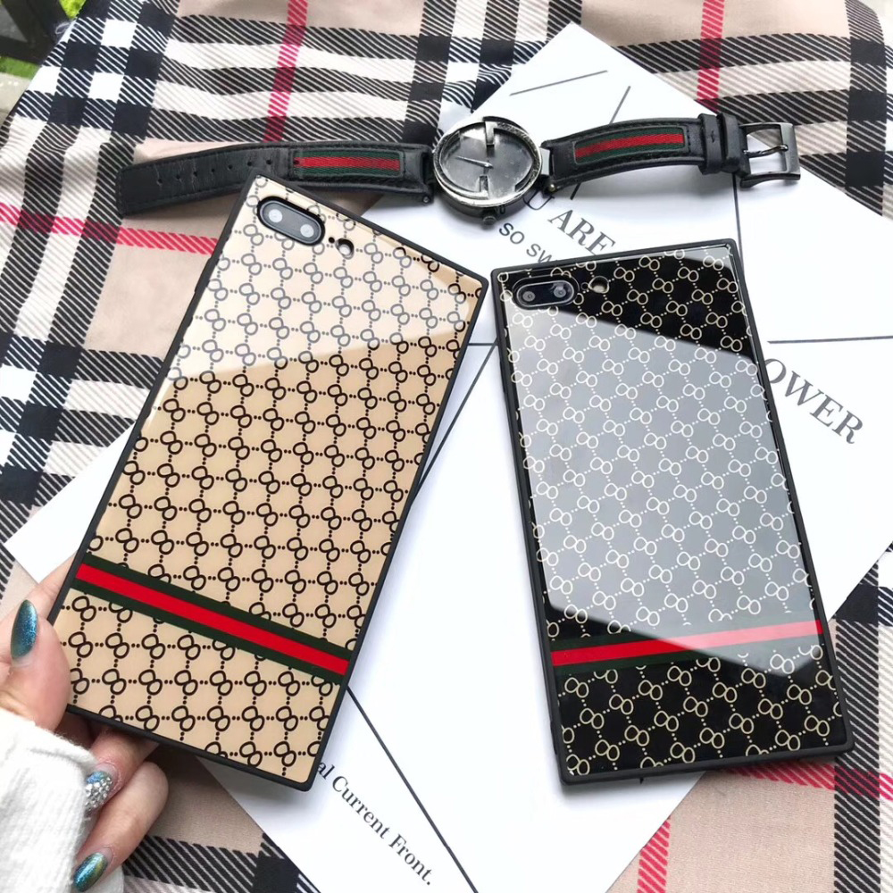 Luxury Brand For iphone 7 8 plus case Fashion Square Tempered Glass case for iphone 6 6s plus More Back cover For iphone X case