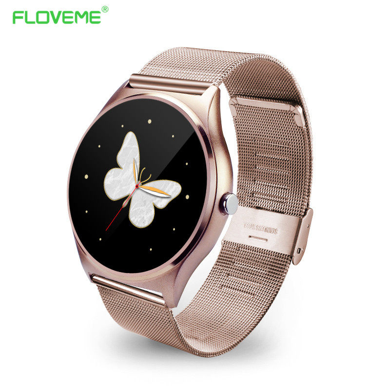 FLOVEME K7 Bluetooth Smart Watch Man/Woman Watch Full Stainless Steel Wristwatch For iPhone IOS Samsung Android Gold Smartwatch