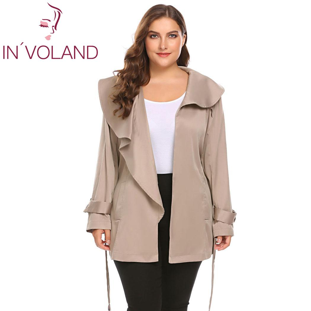 IN'VOLAND Plus Size Autumn Women   Trench   Coat Large Size Casual Woman Clothes Windbreaker Coat Outwear oversized