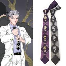 Anime jojo Kira Yoshikage Cosplay Tie JoJo Bizarre Adventure KILLER QUEEN Skull Neck Tie Cosplay Costume Halloween Hobby Gift кольцо jojo 2015 sweety 10 jx0447
